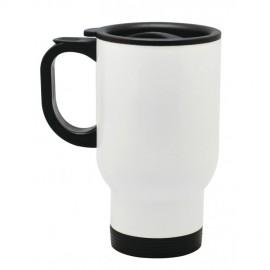 Fehér színű rozsdamentes fém termosz bögre, egyedi fényképpel, felirattal