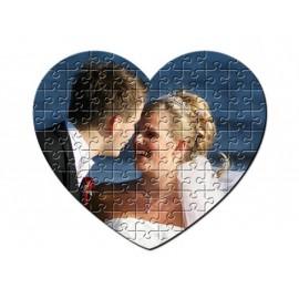 Puzzle szív alakú, egyedi fényképpel, felirattal