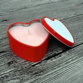 Szív alakú illatgyertya fémdobozban, egyedi fényképpel, felirattal