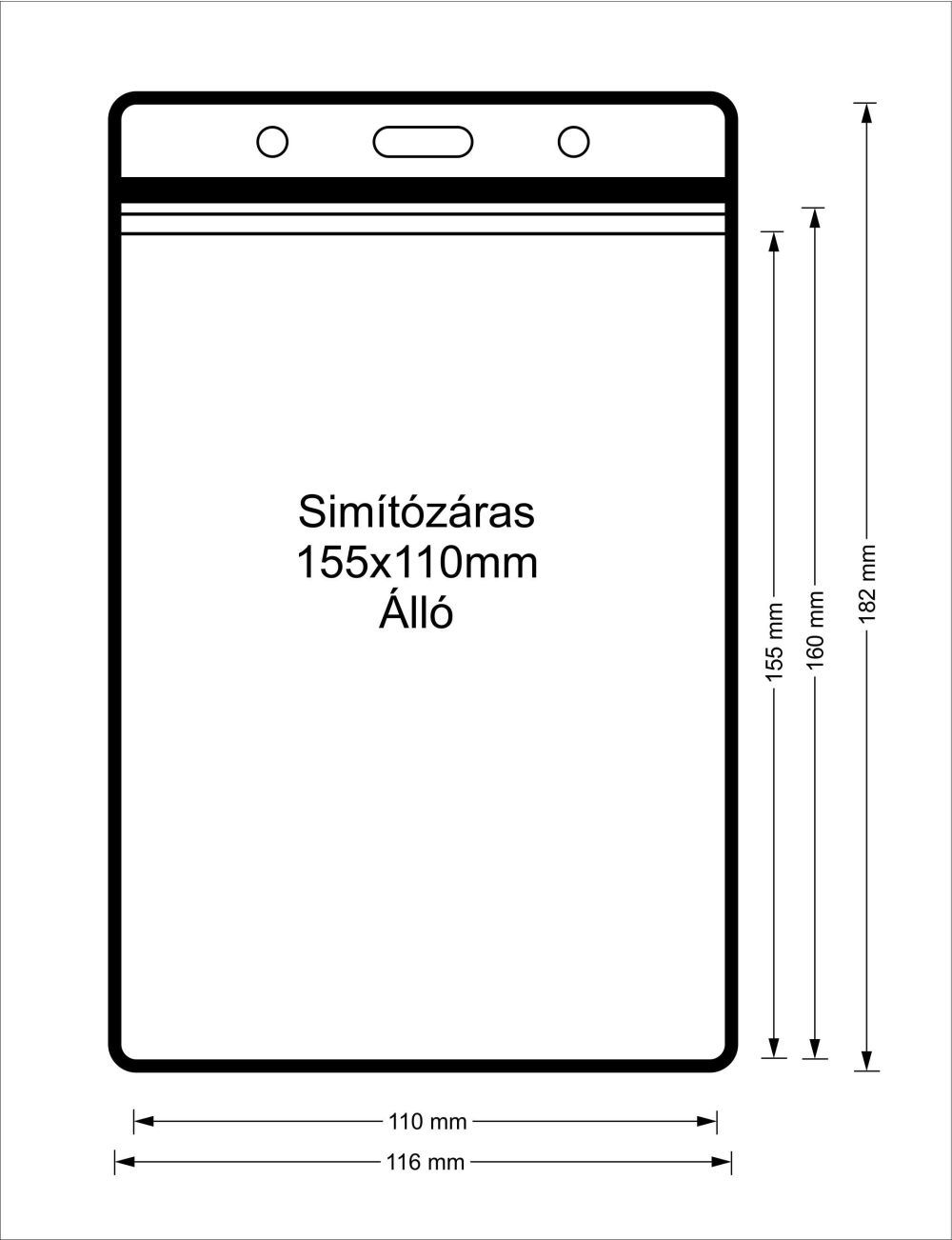 Simítózáras vinyl tasak (álló, 155x110mm)