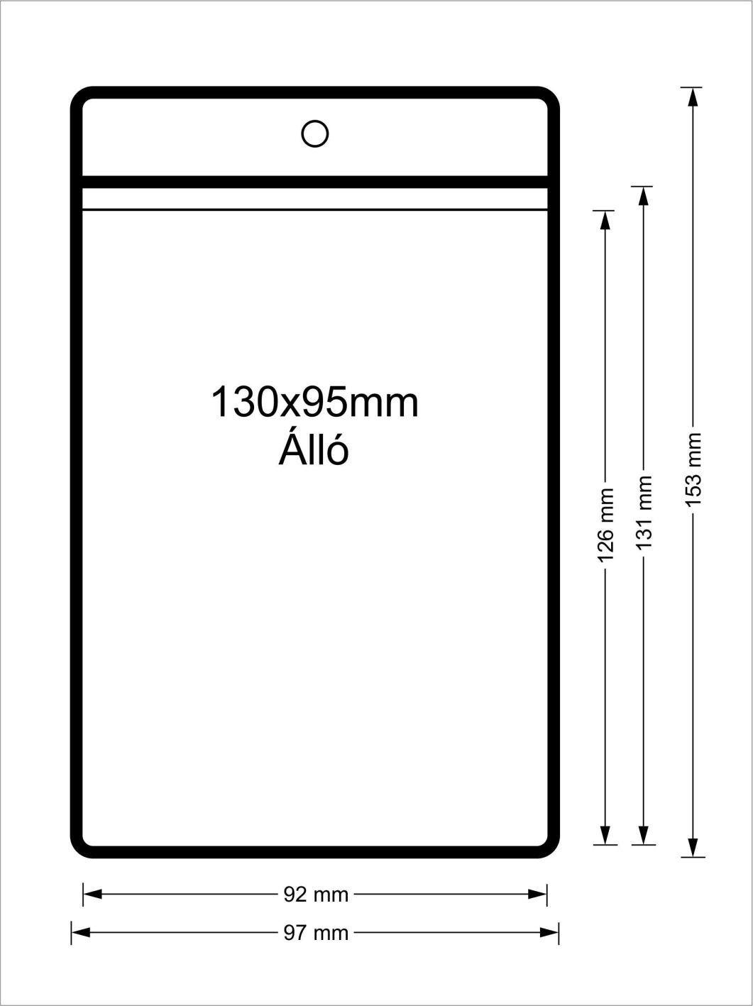 Vinyl tasak (álló, 130x95mm)