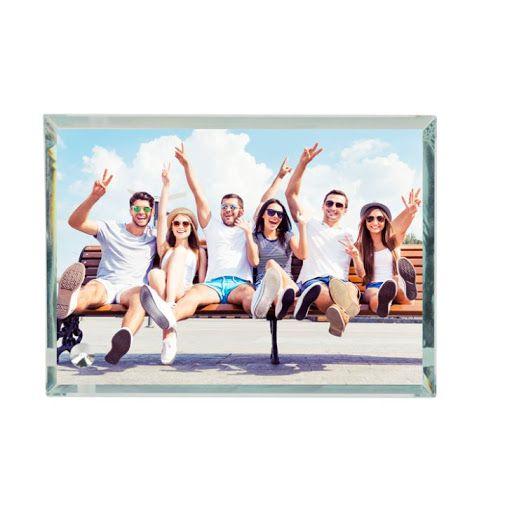 Üveg asztali kép 230x180x10mm, egyedi fényképpel, felirattal