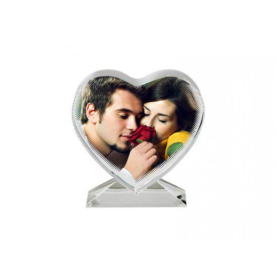 Kristálytömb, szív alakú, egyedi fényképpel, felirattal