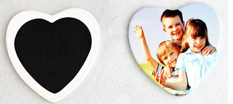 Kerámia hűtőmágnes szív, egyedi fényképpel, felirattal