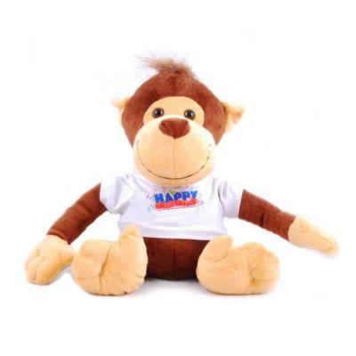 Plüss majom, egyedi fényképpel, felirattal