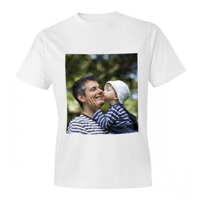 Fehér póló A4 méretű, egyedi fényképpel, felirattal