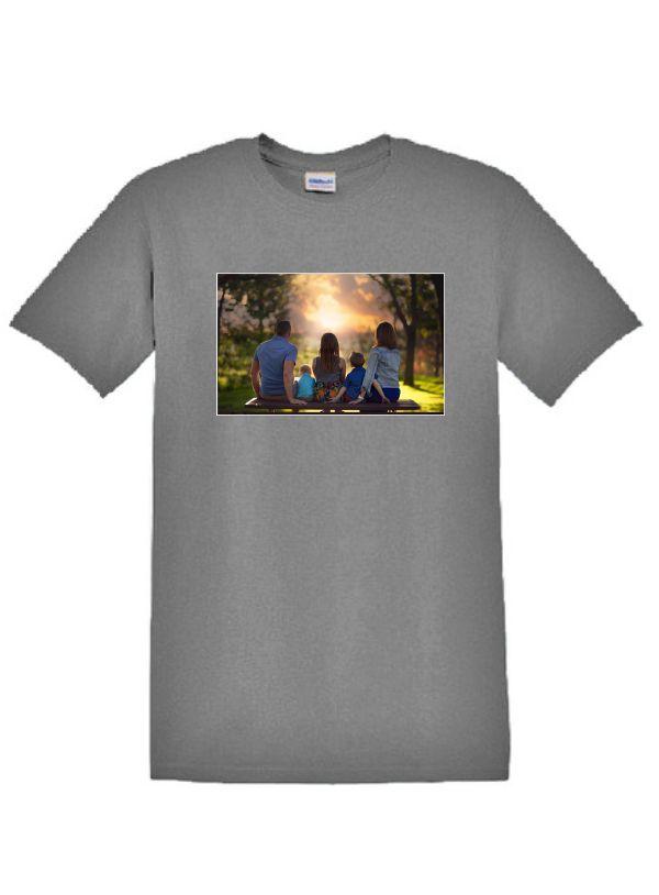 Szürke póló A4 méretű, egyedi fényképpel, felirattal