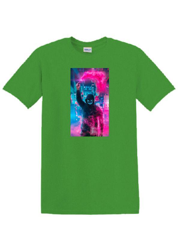 Zöld póló A3 méretű, egyedi fényképpel, felirattal