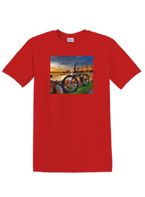 Piros póló A4 méretű, egyedi fényképpel, felirattal